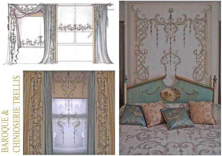 Bery Designs hand painted fabrics: CHINOISERIE TRELLIS