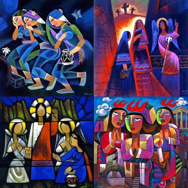 EASTER: The Risen Christ <<< Matthew 28.1-20 >>> painting: He Qi 1999, Women Arriving At The Tomb/ Easter Morning / Women Resurrection Femmes/ Holy Spirit Coming