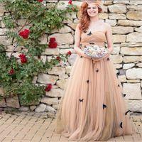 2016 Элегантный свадебные платья novia Шампанское Свадебное Платье robe de mariage Плиссированные Лук Женщины Длинные свадебные платья 2016