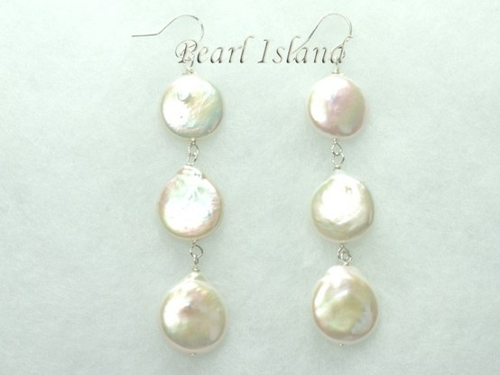 Art Deco White Coin Pearl Earrings with 3 pearls 13-14mm: www.pearlisland.co.uk
