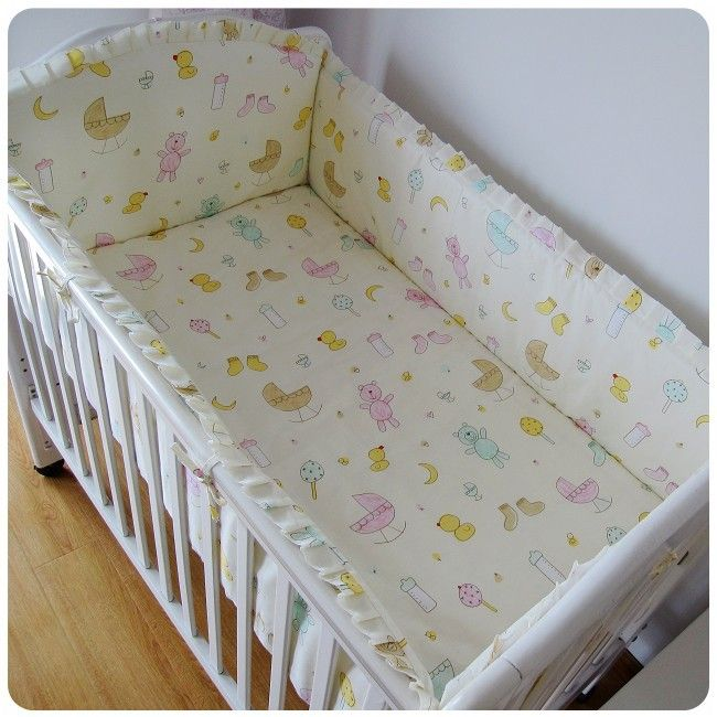 Promotion! 6pcs Baby bedding set lovely girl crib bedding set 100% cotton baby bedclothes  (bumpers+sheet+pillow cover)