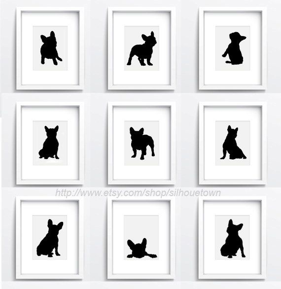 French bulldog images. Set of 9 different dog silhouettes. Custom pet portraits home decor. Black frenchie wall illustration. 9 Giclee Fine Art