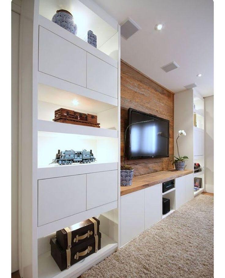 Salas de TV - InstaInspire #details #amazing #assimeuamo #inspiração #inspiration #dileiabezerraarquiteta #dillainspira #estilos #design #decor