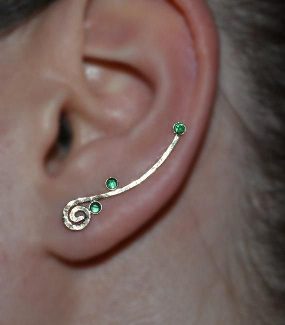 Ear Sweep Post Earrings Earcuff Minimalist Earring Onyx Ear Cuff 3mm Black Onyx EAR CLIMBER Silver  Onyx Bar Stud