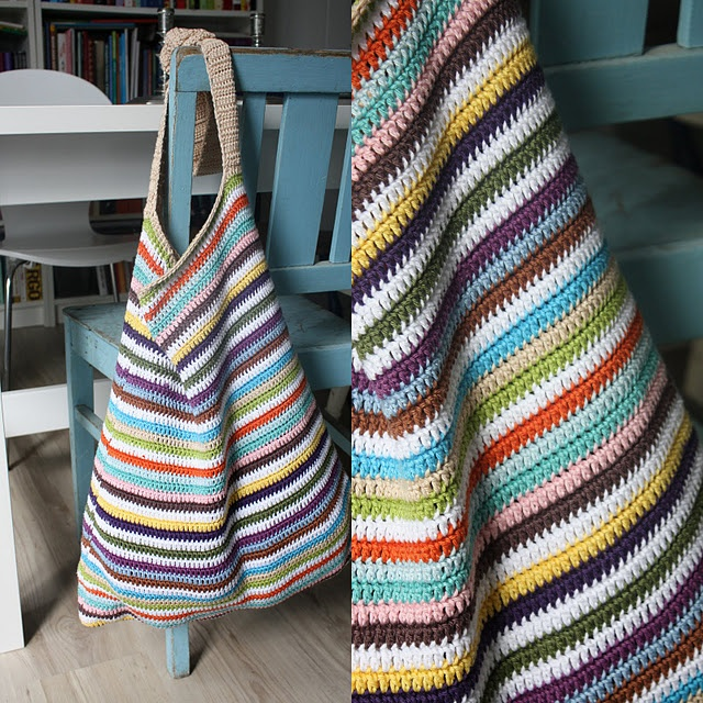 Striped crochet bag--wouldn't this be neat converted to a quilted bag, made from skinny strips of fabric?