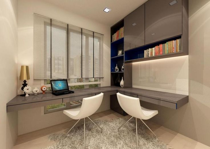 Elegant Study Table For Modern Teen Bedroom Interior Design Ideas : Modern Bedroom Interior Design With Gray Glossy Study Table Fron Shades Window Plus White Twin Chair As Well Soft Lighting Ceiling And White Gray Book Shelves