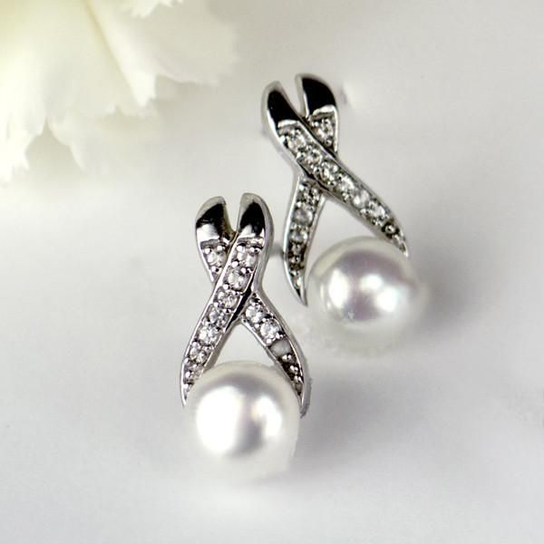 Silver Pearl and White Topaz Earrings