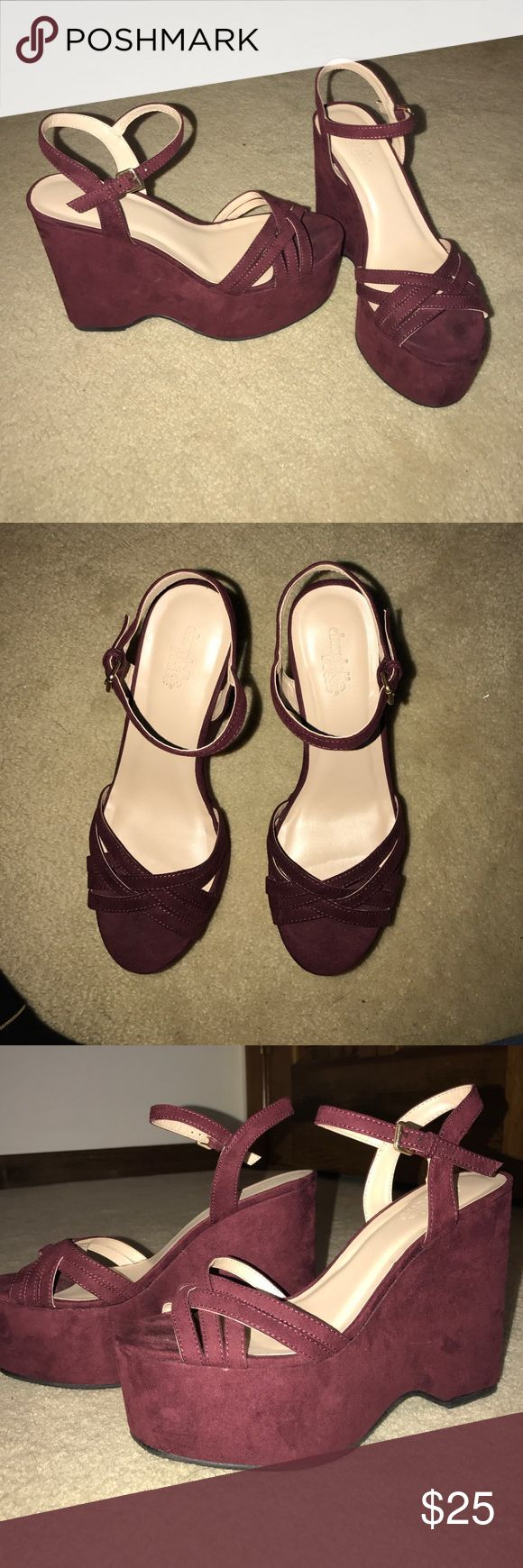 Charlotte Ruse Maroon Strap High heels Only wore ONCE for Prom, Are too high to wear casually for someone who never ever wears hells, super almost new condition, super cute style and color Charlotte Russe Shoes Wedges