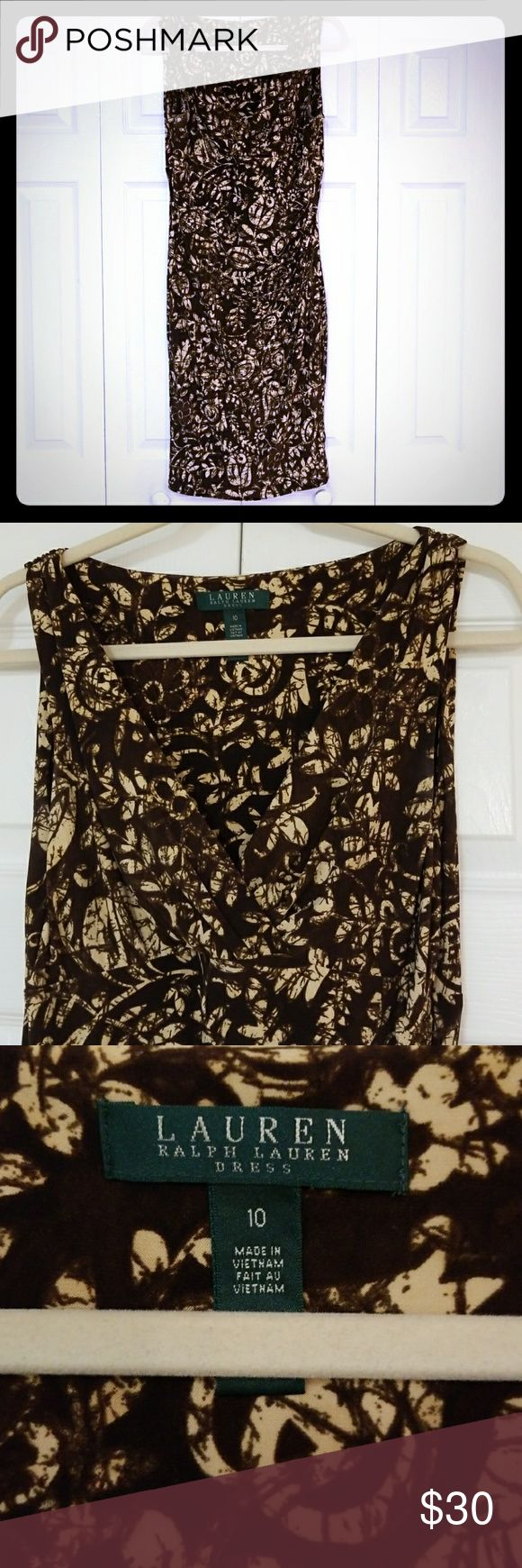 Ralph Lauren Sundress Stretchy, side-ruched, criss-cross neckline on this mid length, super flattering, sleeveless mock wrap dress. Gorgeous brown and cream floral design. Lauren by Ralph Lauren Dresses size 10. Gently used, clean, in EUC. $30 Lauren Ralph Lauren Dresses Midi