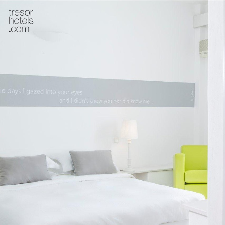 Trésor Hotels and Resorts_Luxury Boutique Hotels_#Greece_ Highlight of the rooms and suites at #Ios #Palace #Hotel & #Spa: the lyrics of Greek poets on the walls which constitute a source of inspiration to further enable your inner personal escape.