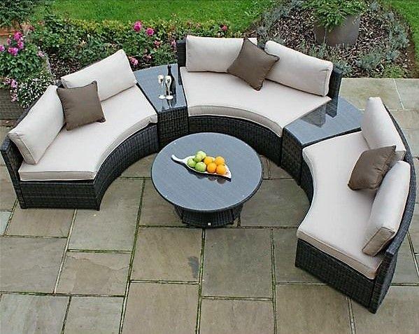 Debenhams Rattan-Effect 'LA' Half-Moon Garden Sofa Set - Dark Brown