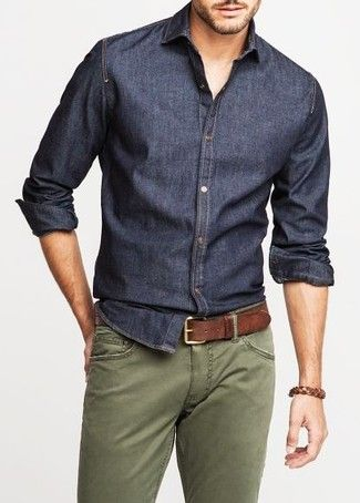 Men's Olive Chinos, Dark Brown Leather Belt, and Navy Chambray Long Sleeve Shirt