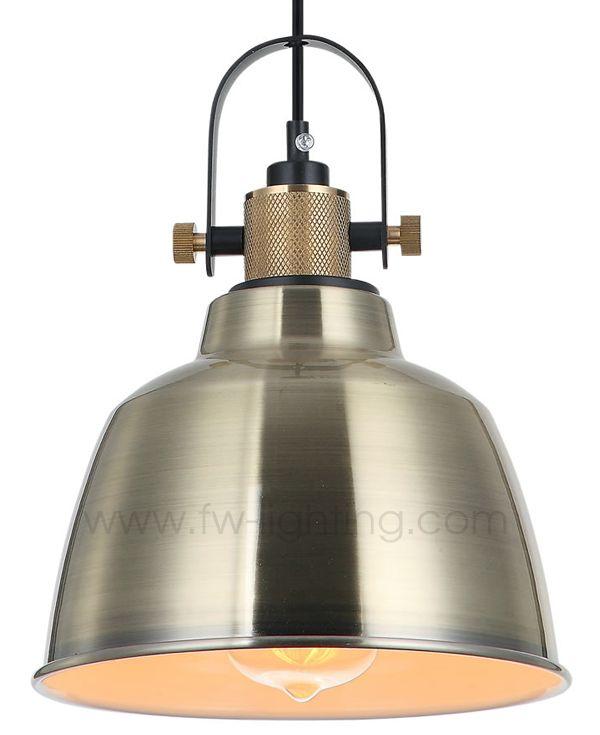 Ineslam, vintage industrial designed pendant light, antique bronze finish with brass knurled lamp holder     MD8020-ABE