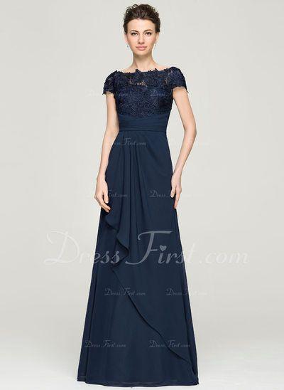 A-Linie/Princess-Linie Off-the-Schulter Bodenlang Chiffon Lace Abendkleid mit Gestufte Rüschen (017092342)