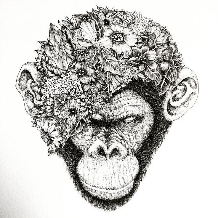 My latest drawing Botanical chimpanzee #chimpanzee #ape #monkey #draw #ifindbliss #art #artist #black #blackandwhite #tattoo #ink #noahsart #japanese #animal #instacool #instaink @ifindbliss