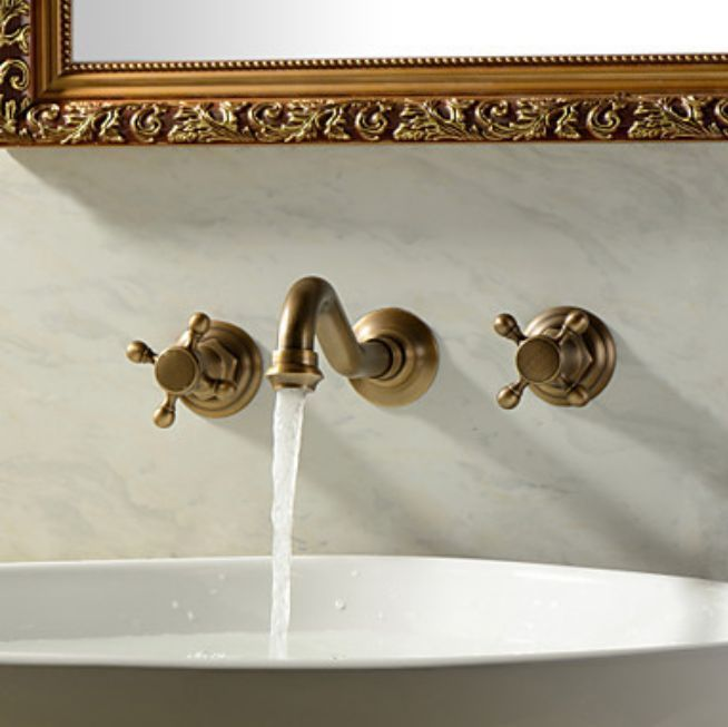 Picture Collection Website Modern Antique Brass Wall Mounted Dual Handles Bathroom Basin Mixer Faucet Tap NICEFAUCET