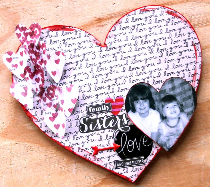 Heart-Shaped Wall Mount of Sister Love for Valentine's Day by mambi Design Team member Candi Billman   me & my BIG ideas
