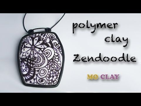 ▶ Polymer clay tutorial Zentangle Pendant by MoClay- Design transfer- Arcillas polimericas - YouTube | TUTORIALES | Pinterest | Polymer clay, Clay and Clay tut…