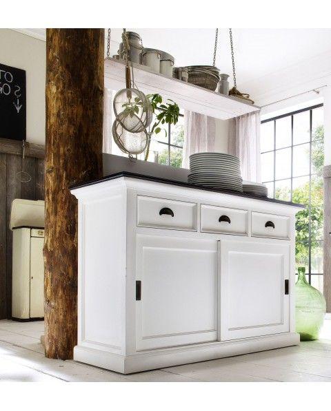 buffet blanc 3 tiroirs 2 portes coulissantes acajou massif. Black Bedroom Furniture Sets. Home Design Ideas