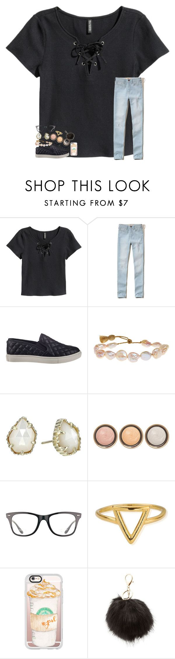 """""""Idk what to wear tomorrow 😕"""" by sweettoothegj ❤ liked on Polyvore featuring H&M, Hollister Co., Steve Madden, Lena Skadegard, Kendra Scott, By Terry, Ray-Ban, ChloBo, Casetify and Charlotte Russe"""