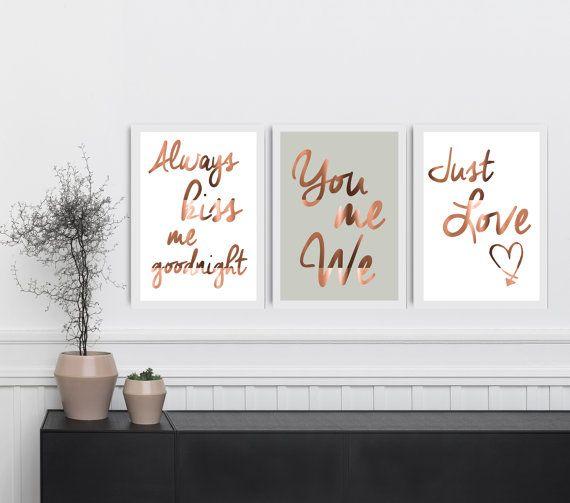 Set aus 3 Kupfer Folie drucken, Typografie-Poster, Schlafzimmer Wandkunst, Wohnkultur Stil, echtem Kupfer immer Küss mich, Sie mir, wir lieben nur Zitat Die Details ▶ Dies ist ein echtes gold, Silber oder Kupfer Folie drucken. Die Drucke sind von hand foliert. ▶ Alle Drucke sind