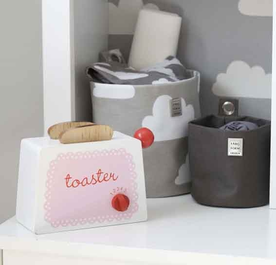 Farg & Form wallpaper and storage with Sass & Belle toy toaster