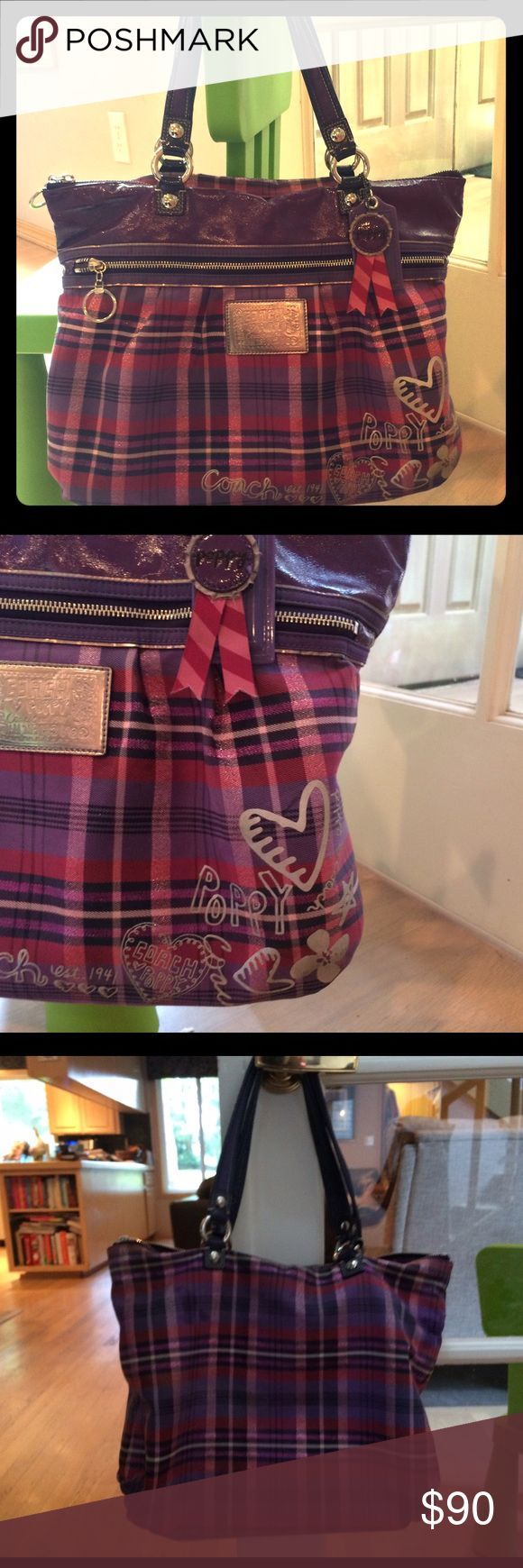 coach coach outlet 24le  Coach Poppy Tartan Glam Tote