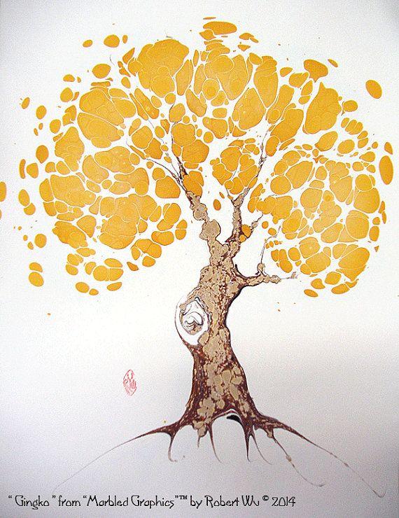 "Ginkgo - The Original ""Marbled Graphics""™ by Robert Wu, Original Marbling Art, Marbled Paper"