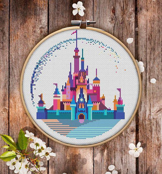 Modern Cross Stitch Pattern of Disneyland for Instant Download