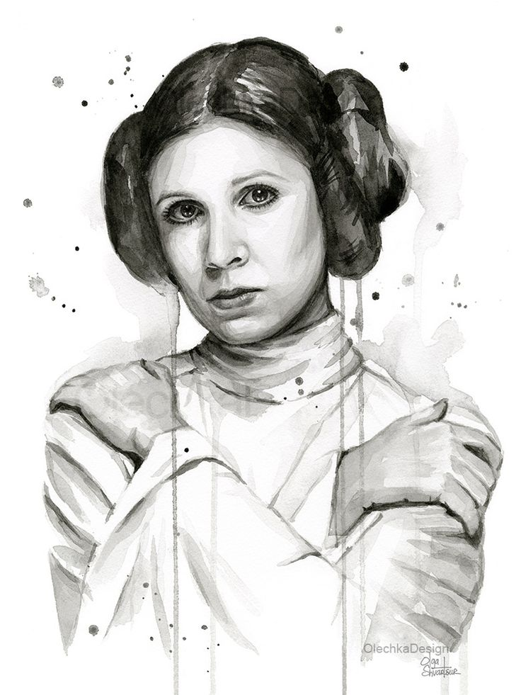 Star Wars: Princess Leia Watercolor Painting - Carrie Fisher Portrait