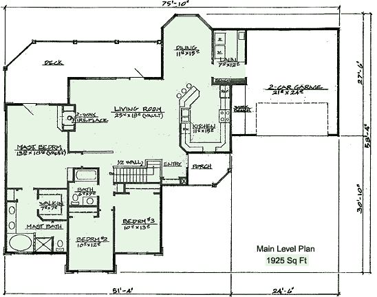 Ranch with walk out basement house plans 401 floor plan for Ranch floor plans with basement