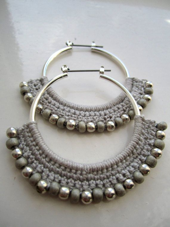 Crocheted Hoops with beads silver and grey by BohemianHooksJewelry.