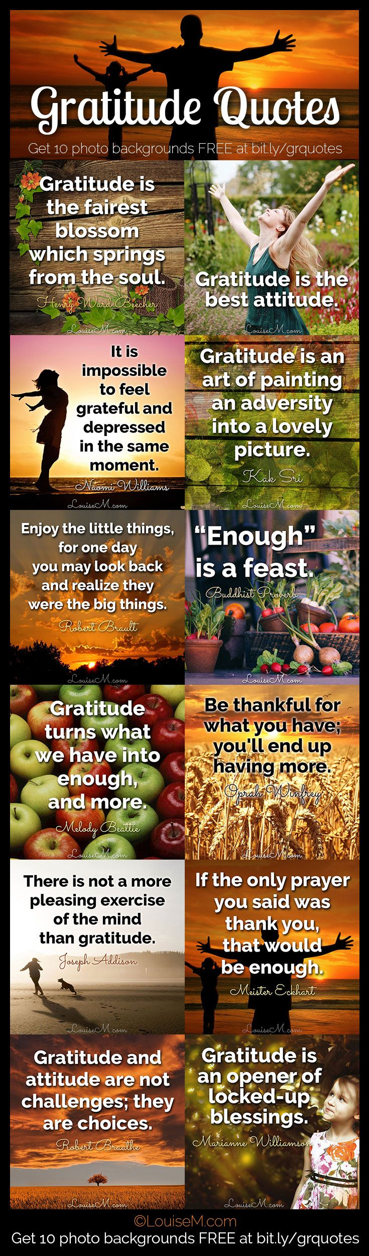 Find 30 days of gratitude quotes, photos, and more to help you adopt an attitude of gratitude. FREE photo download to make your own inspirational graphics!