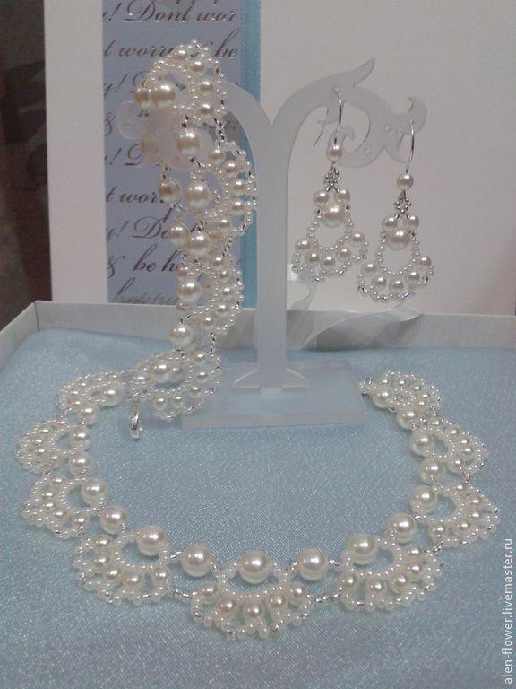Купить Комплект украшений из бисера Жемчужные кружева - бежевый, молочный, ivory, айвори, свадебное украшение