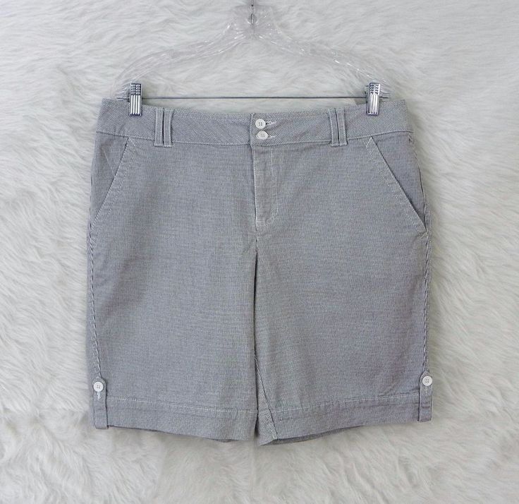 Womens FADED GLORY Blue White Railroad Striped Stretch Denim Shorts Size 14 #FadedGlory #CasualShorts