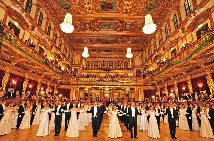 Dance in the Golden Auditorium.  One of Vienna's fanciest balls is the Philharmonic Ball, held in the Golden Auditorium of the Musikverein with live music from the Vienna Philharmonic Orchestra. Photo: Getty