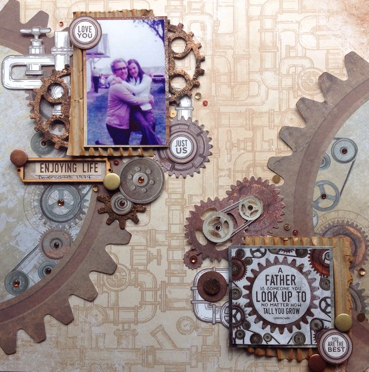 Good+Morning+everyone,+Today+I+am+pleased+to+be+bringing+you+a+multi+layered+layout+using+the+incredible+Factory+42+collection +To+start+this+layout+I+used+the+large+Cogs+and+Pulleys+Die+Cut+sheet and+cut+two+sections+from+the+edges+and+arranged+them+as+seen.+(You+will+end+up++…click+to+read+more