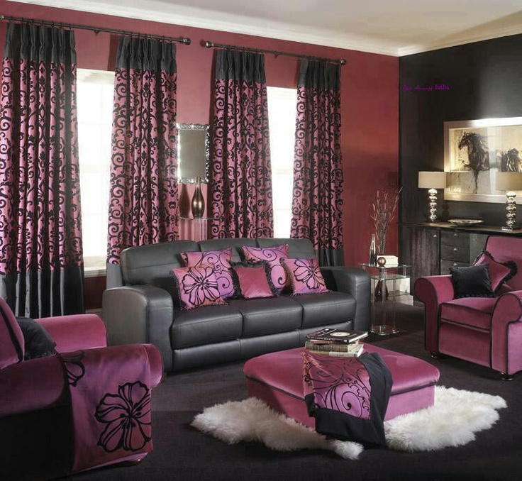 Perfect #Purple And #black #living #room #home #decor #layout