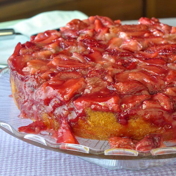 Strawberry Upside Down Cake - easy and delicious! A moist vanilla scratch cake baked on top of ripe summer strawberries. Best served warm with ice cream!