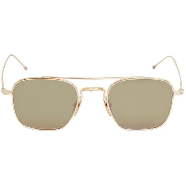 Thom Browne Women Squared Gold Aviator Sunglasses (€685) ❤ liked on Polyvore featuring accessories, eyewear, sunglasses, gold, thom browne, nose pads glasses, thom browne glasses, striped sunglasses and thom browne eyewear
