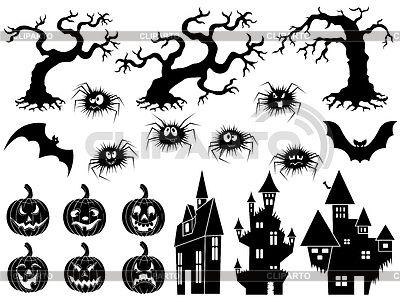 Набор Хэллоуин силуэты и трафареты | Векторный клипарт | ID 5921187