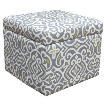 Gray Damask Storage Ottoman  Serves Two Purposes!