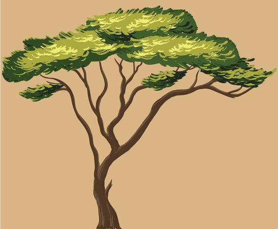 African Tree Wall Decal, Wall Stickers, Repositionable Fabric (African Tree Only)