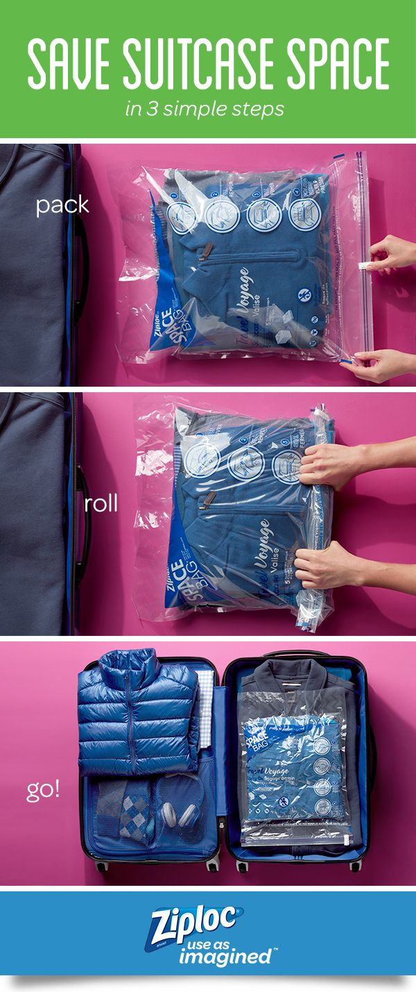 Relieve packing anxiety with this easy suitcase space saver. WithZiploc®Space Bag®Travel Bags, all you need to do is pack, roll and go! You don't need a vacuum in your hotel room – just roll to compress the air out of the bag yourself!Fit and organize everything you need safely into yourcarry-on. Make room for the necessities so you have space for the not-so-necessary finds from the gift shop. Get ready for your next vacation with this simple packing tip.