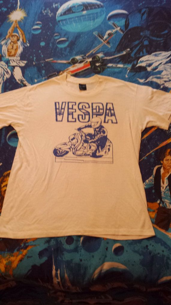Vintage 1980s VESPA tshirt 50/50 by thriftyoutfitters on Etsy, $50.00