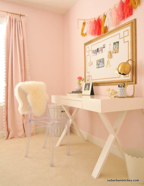Girls Room Desk  - this white desk + gold accents + tassel garland is the perfect study area for a girls room!