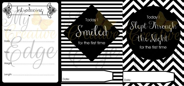 Baby Milestone Cards - Black and White - Instant Download by MyCreatve3dge on Etsy