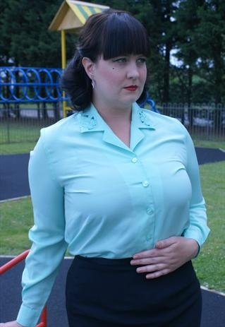 Green Mint shirt with patterned collar, smart lovely detail.