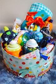 Unique Baby Gifts, Creative Baby Gifts, Diaper Cakes, Shower Gifts: Schools Fundrai, Shower Gifts, Gifts Ideas, Birthday Gifts Baskets, Summer Fun, Fun Baskets, Creative Baby Gifts, Beaches Towels, Fun Gifts