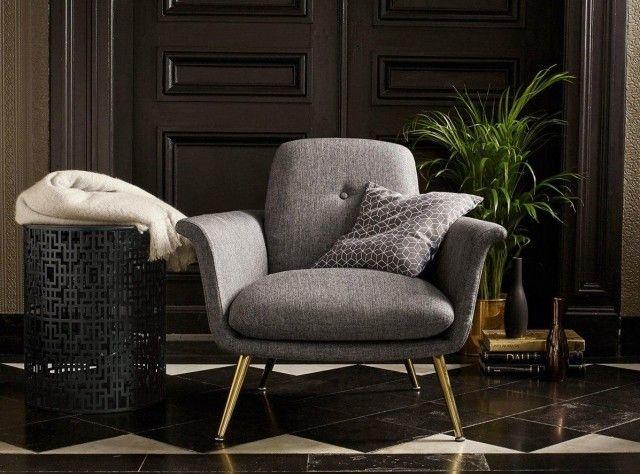 Fauteuil style vintage gris